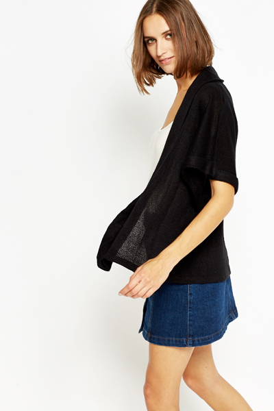 Black Knit Open Front Cardigan