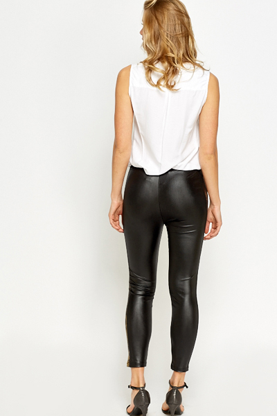 Black Leather Look Mock Croc Leggings