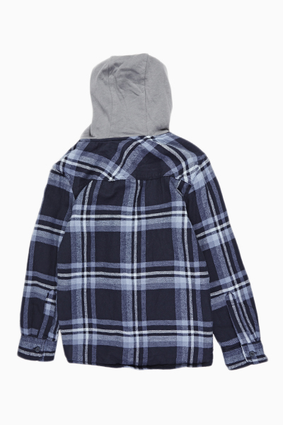 Blue Checked Hooded Jacket