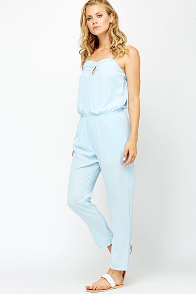 Braided Strap Sky Blue Jumpsuit