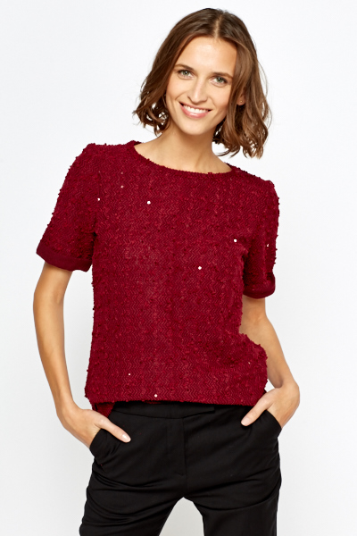 Burgundy Bobble Sequin Top