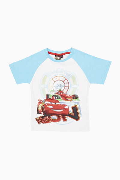 Contrast Cars Racing Print T-Shirt