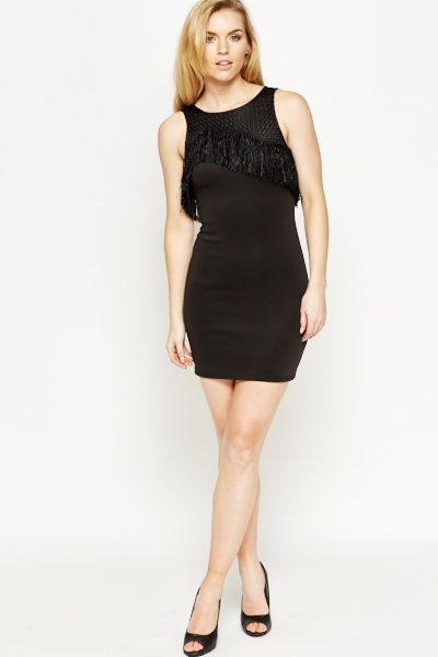 Contrast Fringed Top Bodycon Dress