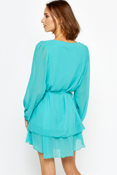 Diamante Encrusted Mint Shift Dress