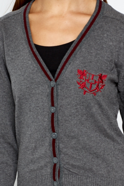 Embroidered Logo Grey Cardigan