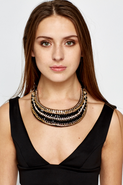 Encrusted Chain Trim Necklace