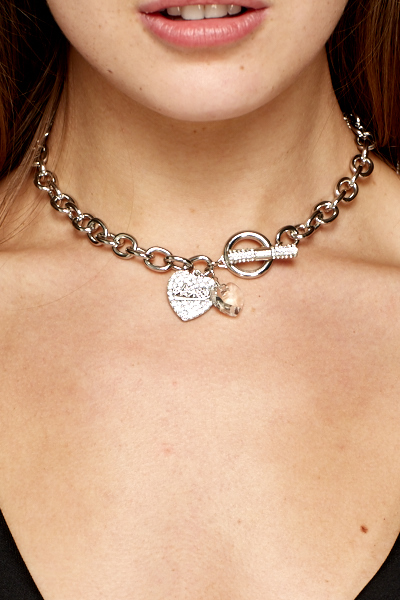 Encrusted Heart Link Chain Necklace