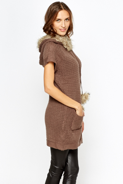 Faux Fur Hooded Knitted Jumper Dress