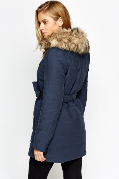 Faux Fur Trim Parka
