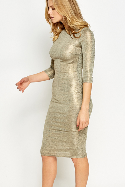 Gold Metallic Midi Dress