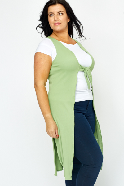 Knot Front Green Sleeveless Cardigan