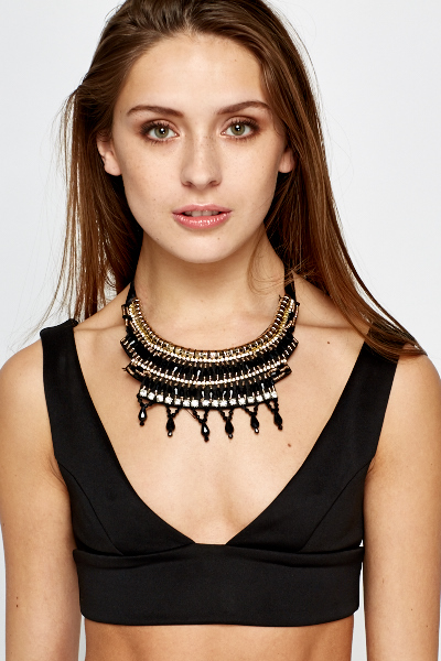 Layered Beaded Aztec Necklace