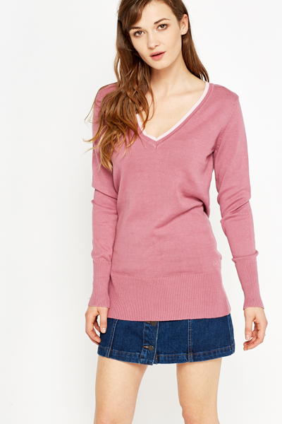 Low V-Neck Longline Jumper