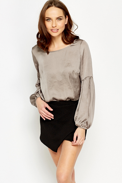 Middle Grey Silky Blouse