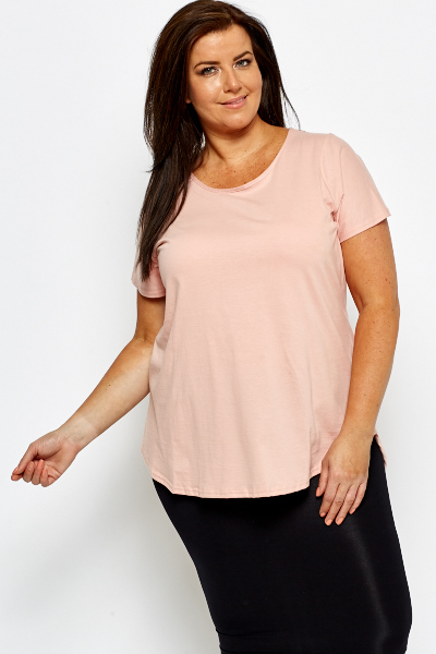 Peach Dipped Hem Top