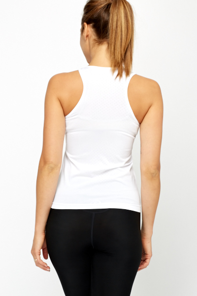 Perforated Back White Sports Top