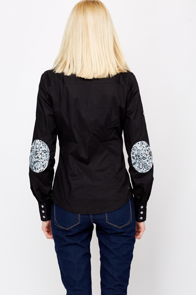 Printed Elbow Patch Shirt