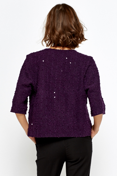 Purple Bobble Sequin Cardigan - Just £5