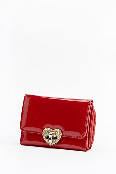 Red PU Encrusted Heart Purse