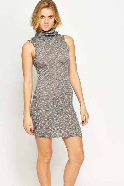 Roll Neck Speckled Bodycon Dress