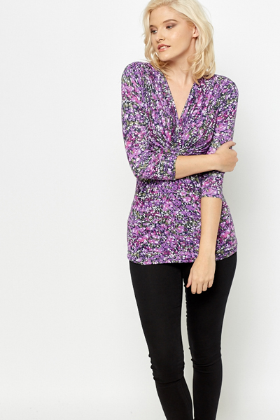 Ruched Lilac Floral Top