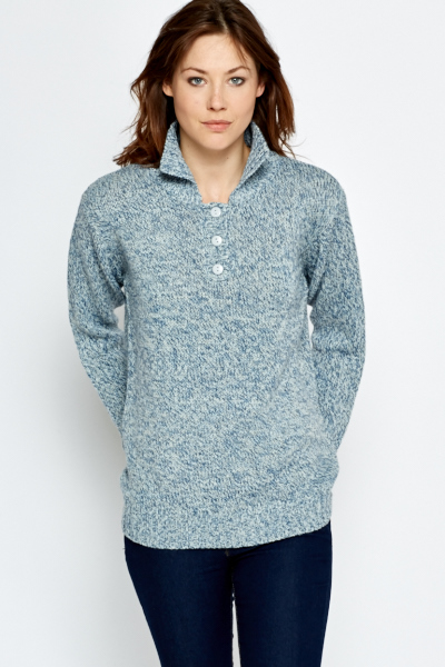 Speckled Button Up Pullover