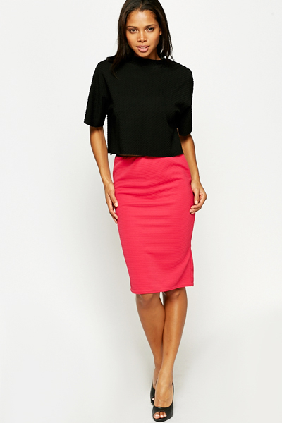 Textured Bodycon Skirt