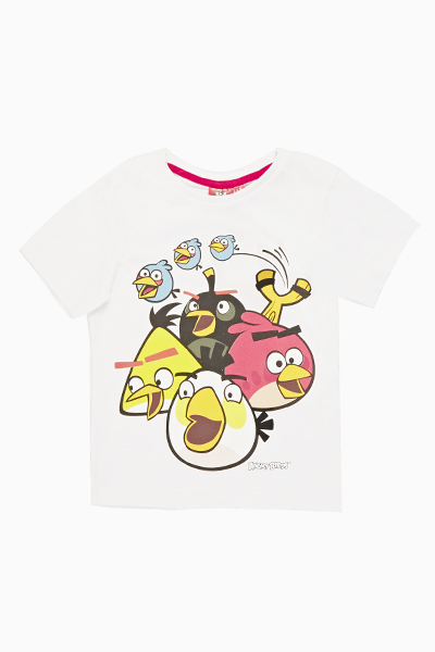 White Angry Bird Short Sleeves Top