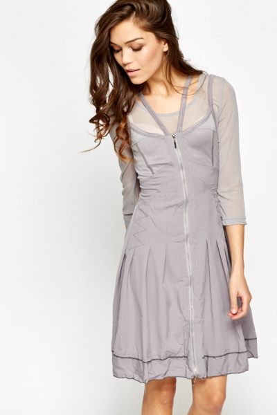 Zip Up Mesh Insert Dress
