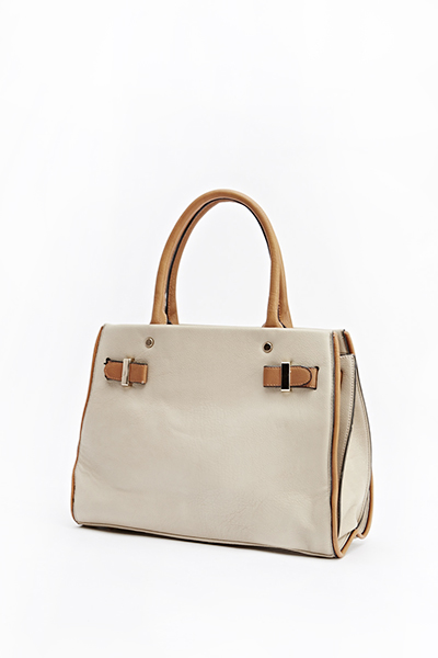 Basic Contrast Faux Leather Bag