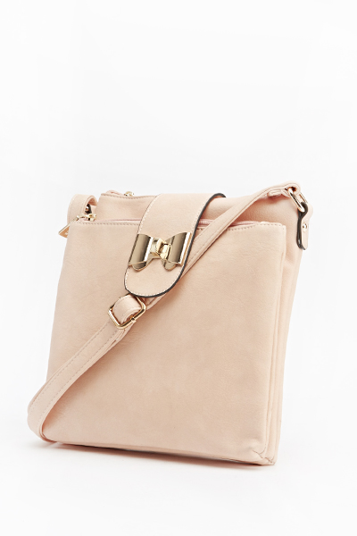 Bow Flap Faux Leather Handbag