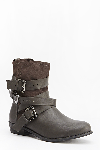 Buckle Strap Crossover Boots
