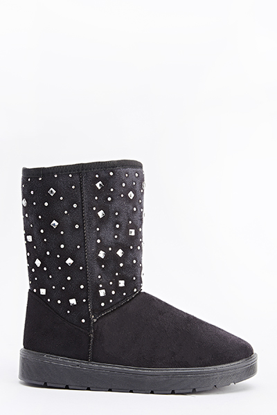 Diamante Suedette Winter Boots