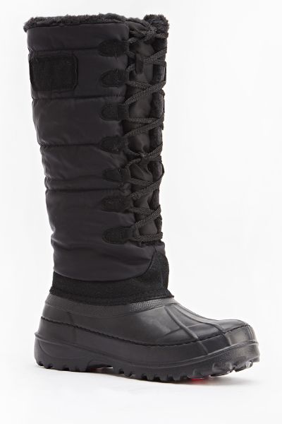 Quilted Faux Fur Trim Boots