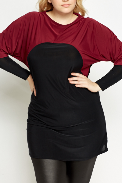 Batwing Wine Contrast Tunic