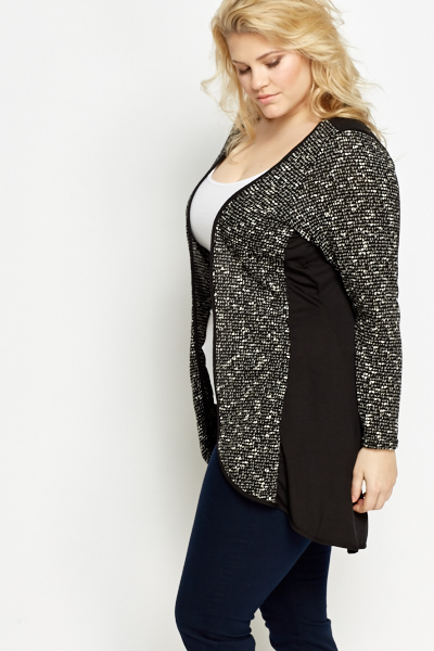 Black Contrast Front Cardigan