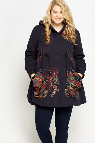 Embroidered Hooded Parka