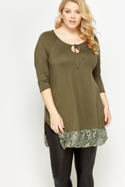 Lace Hem Split Side Tunic
