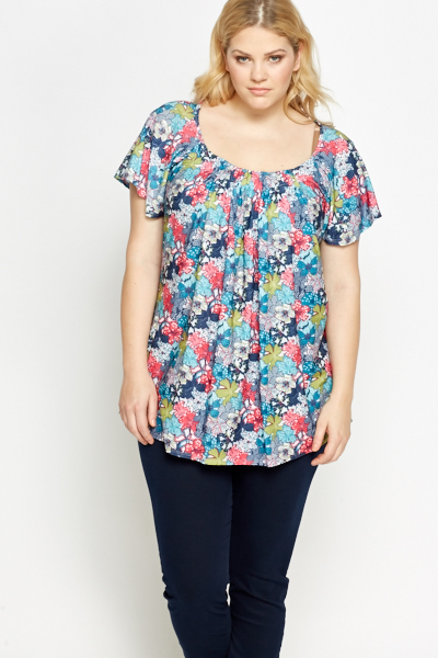 Pleated Neck Floral Tunic