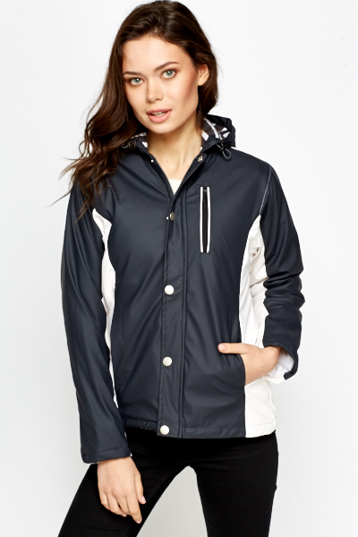 Contrast Hooded Waterproof Coat