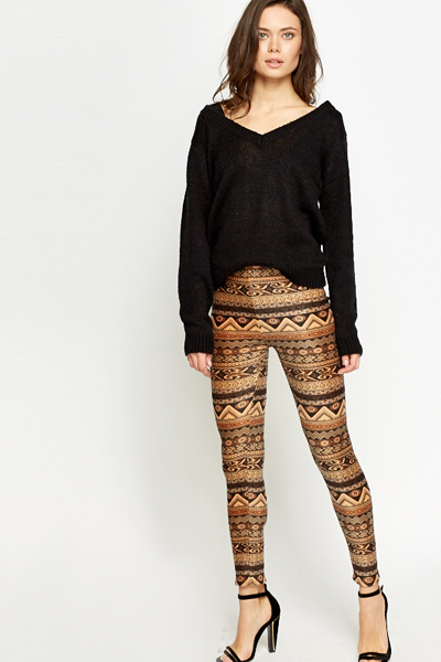 Fleece Aztec Brown Leggings