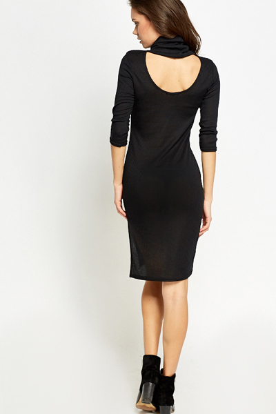 Roll Neck Cut Out Back Dress