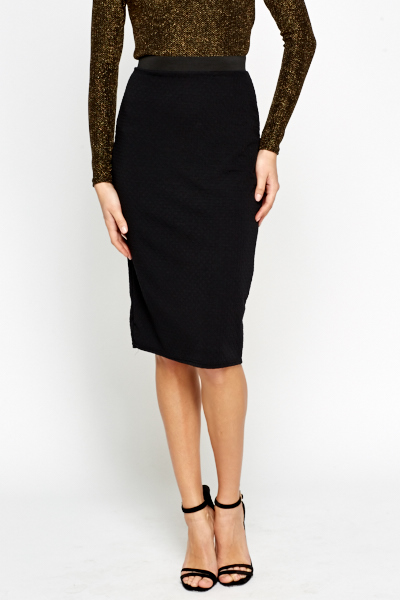 Textured Black Bodycon Skirt