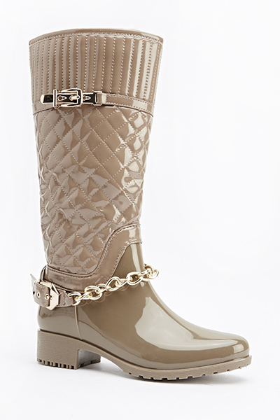 Chain Quilted PU Boots