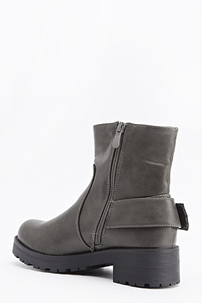 Faux Leather Grey Boots