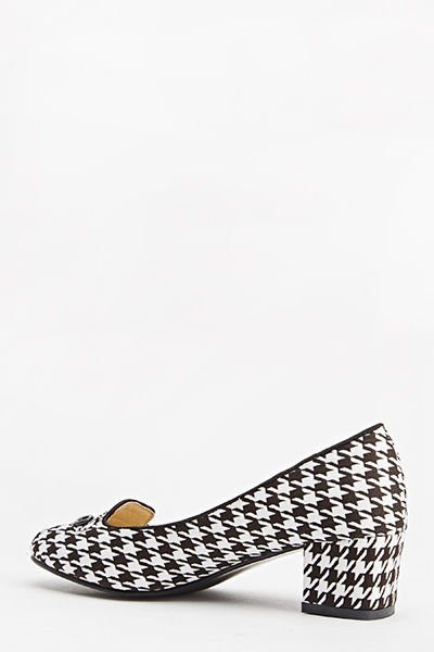 Houndstooth Block Heel Pumps
