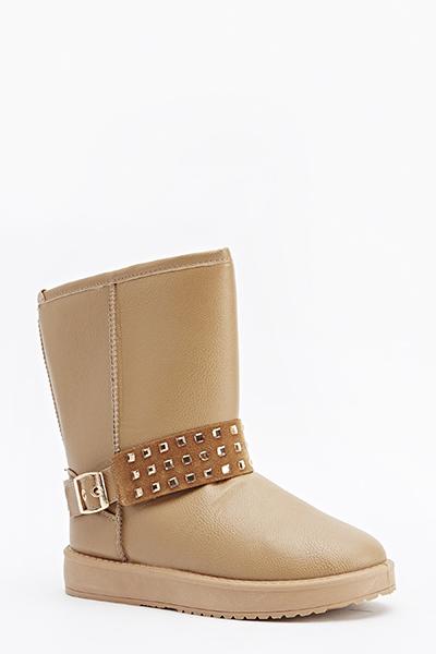 Stud Insert Flat Boots
