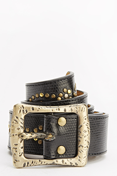 Studded Mock Croc Belt