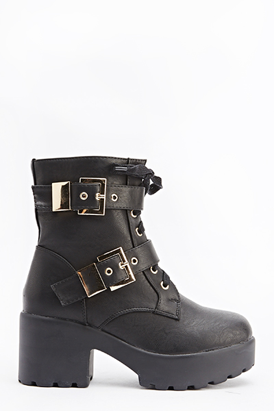 Twin Buckle Strap Heeled Boots