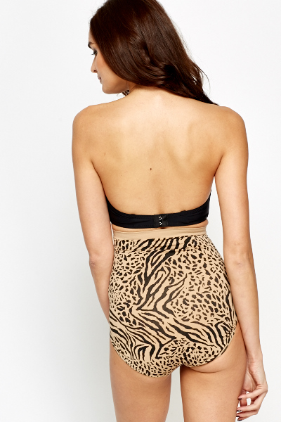 Animal Print High Waist Control Brief